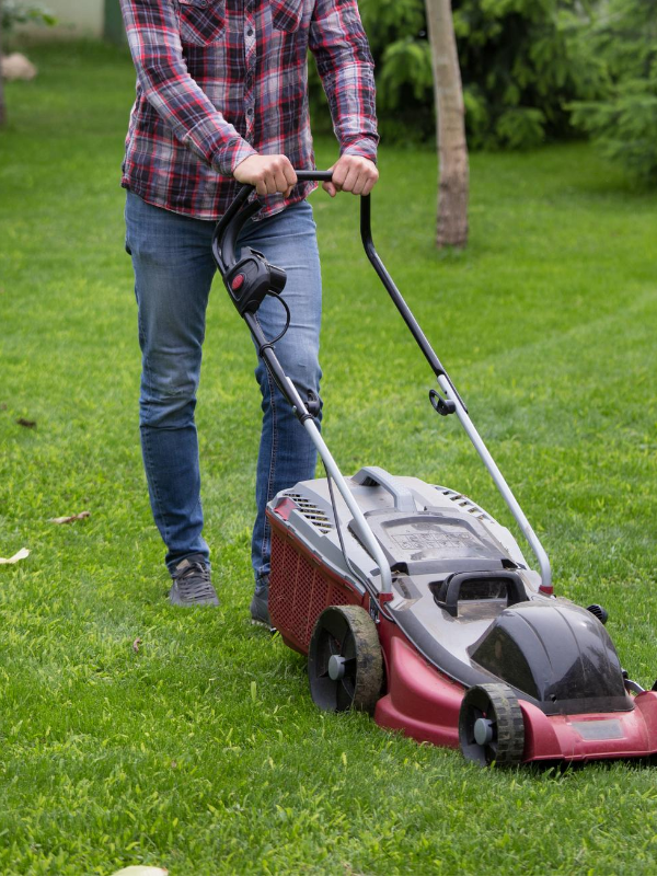 Homeowner Mowing Lawn