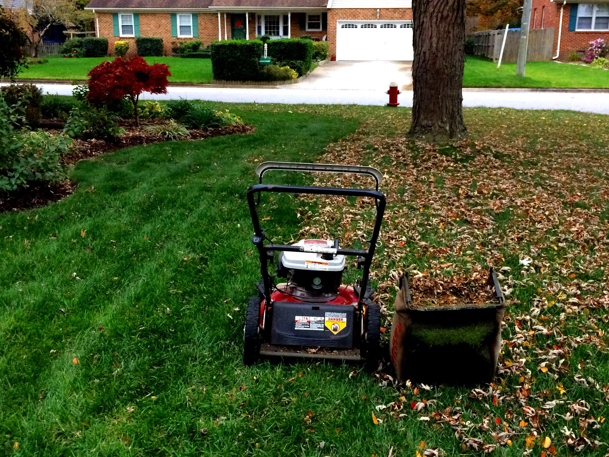 Mowing a Brownstown Charter Township home